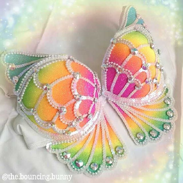 """Rave bra rainbow butterfly neon glitter EDC bra festival fashion EDC outfit rave girl edm SOLD thebouncingbunny (@the.bouncing.bunny) on Instagram: """"This sparkly #rainbowbutterfly #ravebra is available in my Etsy shop ready to ship! [36C double…"""""""