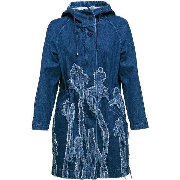 BEKh Atelier     Rita Hooded Denim Parka (2.362.665 COP) ❤ liked on Polyvore featuring outerwear, coats, blue coat, cinch coats, hooded parka, blue parka and denim parka