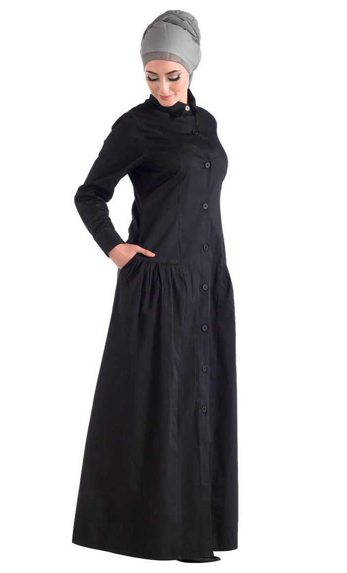 100% cotton breathable front open jilbab.
