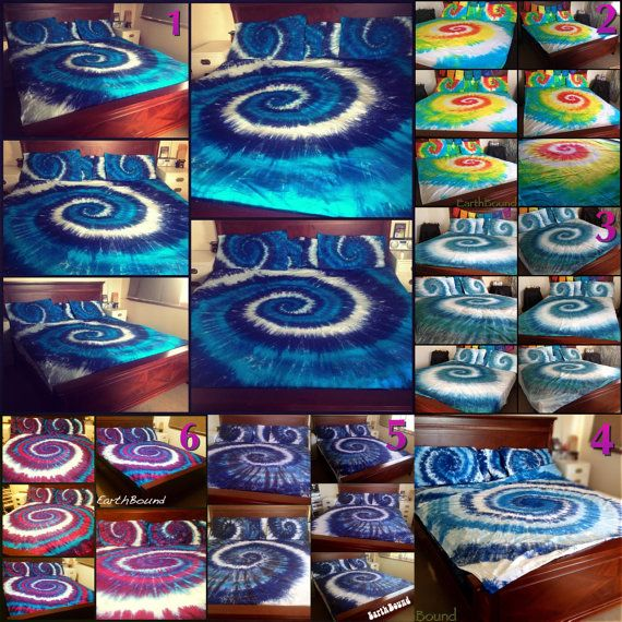 Tie Dye Spiral Duvet Tie dye Doona Cover Set by EarthBoundTribe
