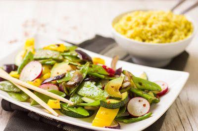 Gemüse-Frühlings-Asia-Pfanne mit Curryreis