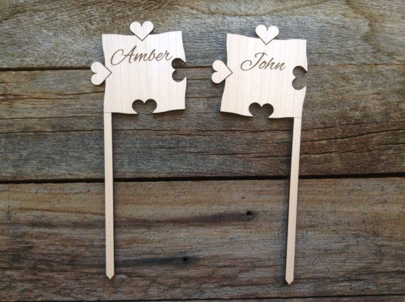 Custom Puzzle Piece Cake Toppers by NorthernOwlCreations on Etsy