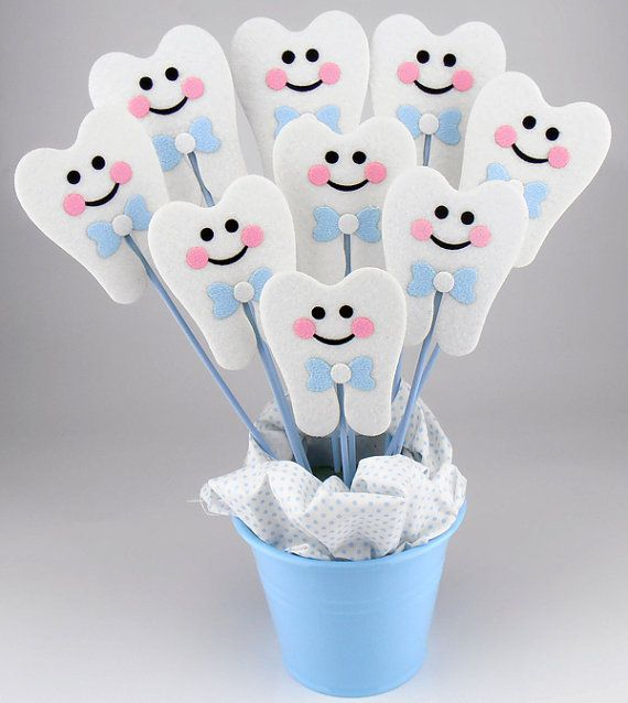 Felt First Tooth Party Centerpieces On a Stick - (6pcs)