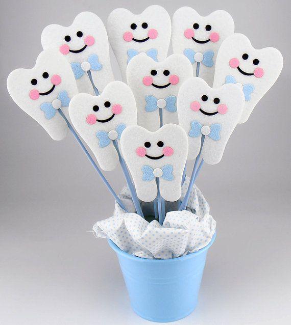 Felt First Tooth Party Centerpieces On a Stick 6pcs / Diş Buğdayı Temalı Çubuklar Keçe Süs