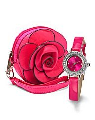 Ladies Glitzy Watch and Flower Purse Set For My Grandaughter Sarah