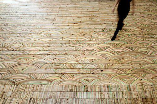 Marbleized wood floors
