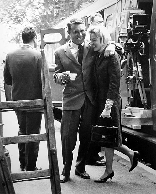 Cary Grant and Deborah Kerr having a laugh between takes of The Grass is Greener