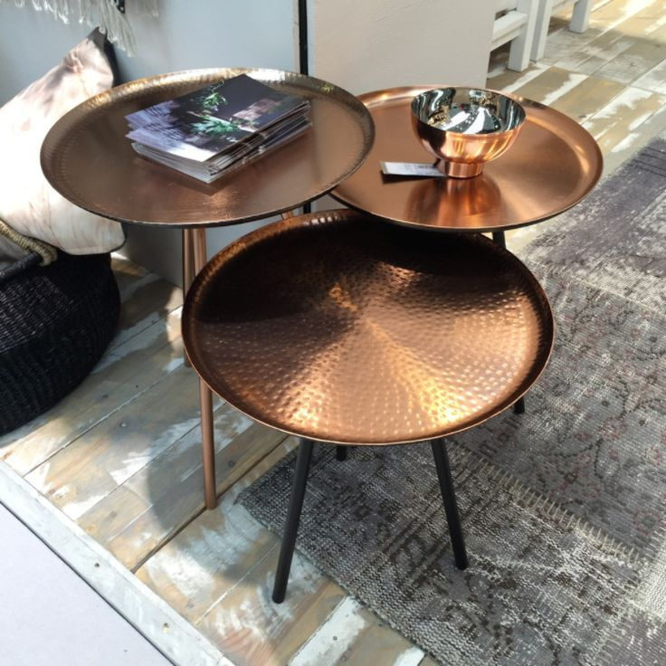 Set Of 3 Copper Metal Nesting Tables