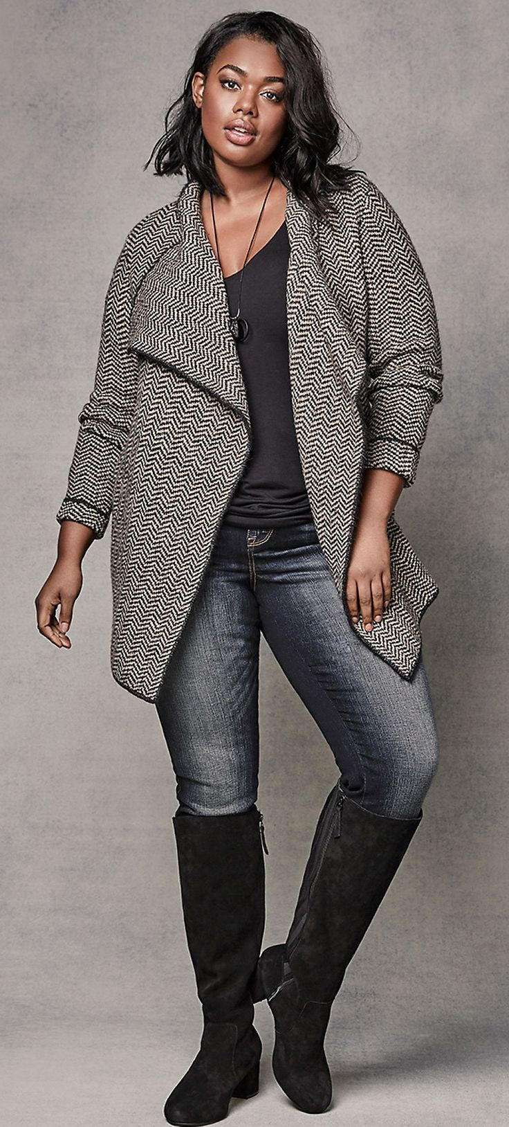 Plus Size Cardigan Outfit - Shop The Look Women Big Size Clothes - http://amzn.to/2ix7dK5