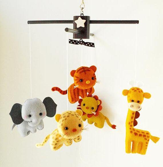 Musical Baby Mobile SAFARI Jungle FUN ANIMALS Baby (Artist Choice Color), Safari Zoo Theme Hanging Mobile for Crib, Nursery or Kids Playroom...