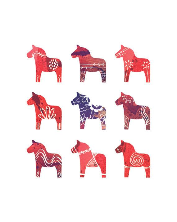 "Swedish Dala Horse Print - 8"" x 10"" - Scandinavian Print - Red"