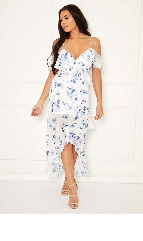 5ff41408 Sistaglam Loves Jessica Wright Loucilla multi chiffon floral maxi dress  with frill details