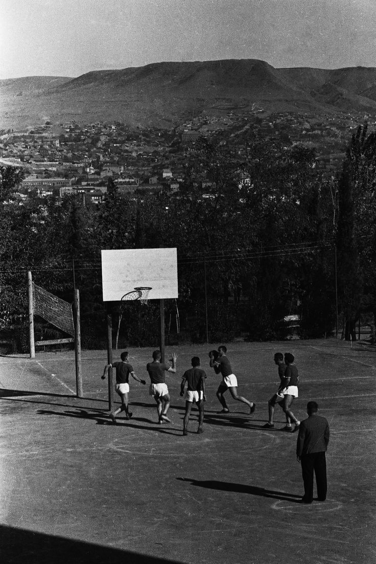 On the basketball court, 1938. A Lokomotiv Tbilisi club practice. The club was founded in 1936m and before the Second World War was the strongest team in Georgia. Tbilisi