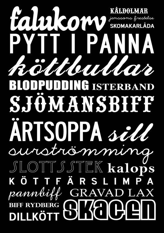 Best of Sweden traditional dishes - would be cute to hang in a kitchen. Too bad they don't list Piteå Palt...