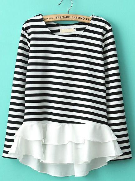 White Black Striped Contrast Cascading Ruffle T-Shirt US$26.67