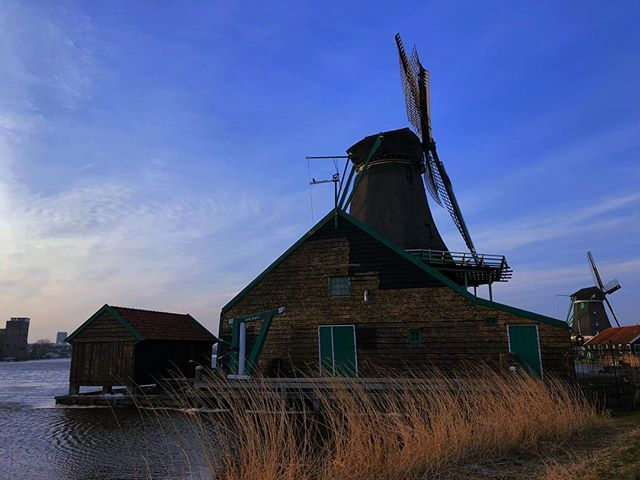Beautiful windmill in Zaanse Schans Netherlands. It was quite cold and windy but definitely worth the visit. It almost had a fairytale atmosphere.  ___ #windmill #holland #netherlands #europe #zaansechans #zaanseschanswindmill #withgirlfriend #holiday #sky #blue #mill #water #village #historic #architecture #wheat #wooden #withgf