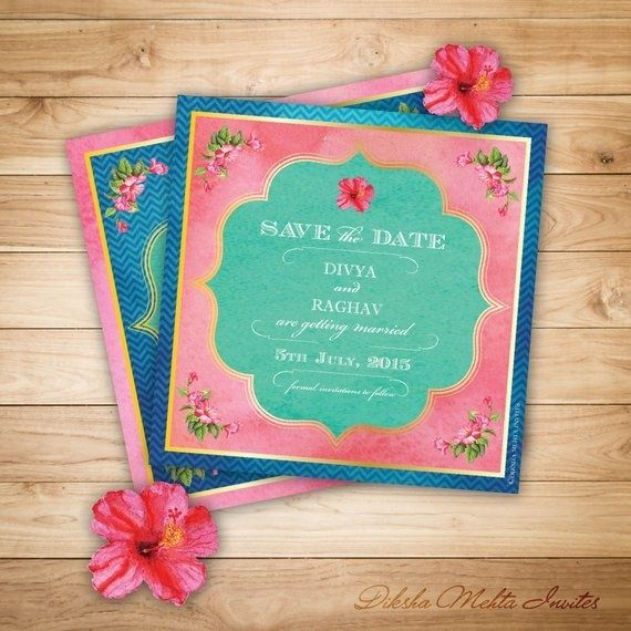 Pink and Blue Lotus Themed Wedding Invitation Cards