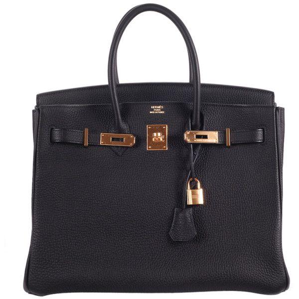BEYOND HERMES BIRKIN BAG 35cm BLACK WITH GOLD HARDWARE ❤ liked on Polyvore