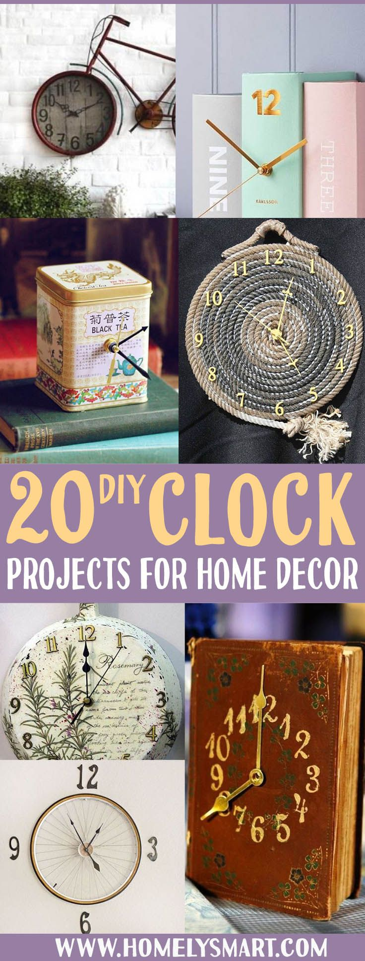 Clock is one of the easiest home decor object that you can build just about anything! Don't just have one that tells time, make one that tells time and decorate your house at the same time! See more inspirational ideas via homelysmart.com