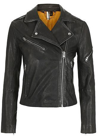 Womens black leather biker jacket from Topshop - £165 at ClothingByColour.com