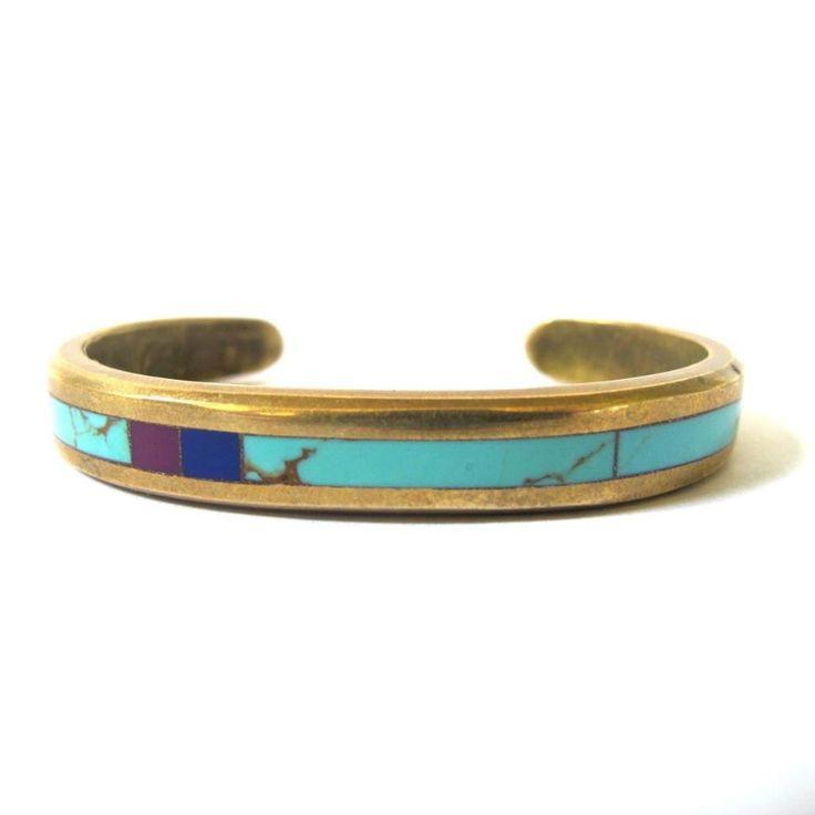 Vintage Turquoise Inlay Brass Bracelet
