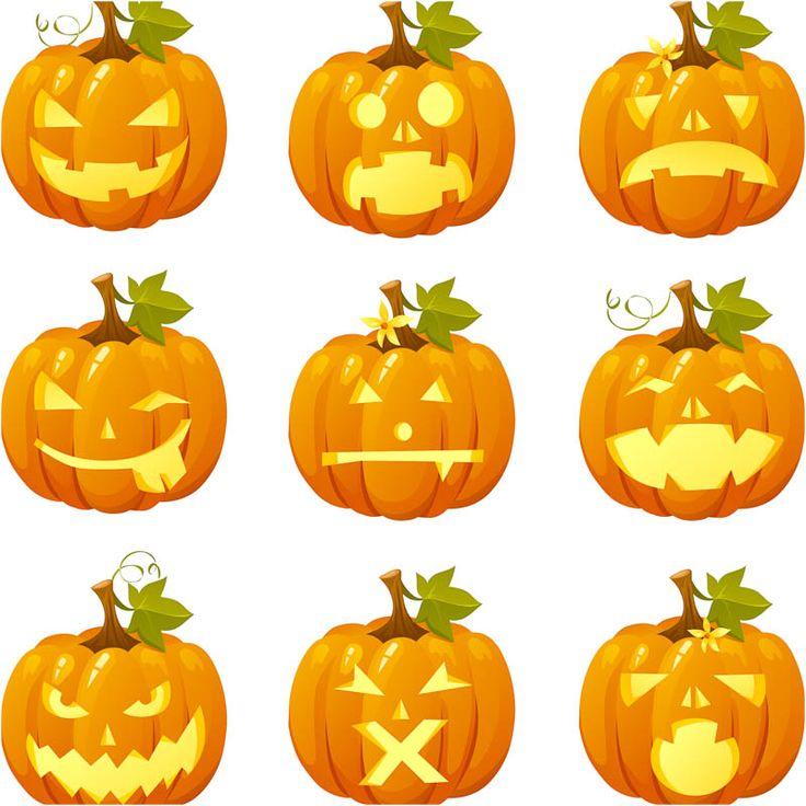 Halloween pumpkins vector. Set of 9 beautiful cartoon