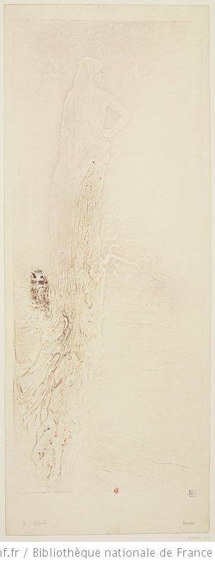 La Solitude de Fernand Massignon dit Pierre Roche, 1906, gypsographie sur papier Japon, 50,2 x 20,5 cm (image) et 56,9 x 21,9 cm (feuille), Bibliothèque Nationale de France à Paris.
