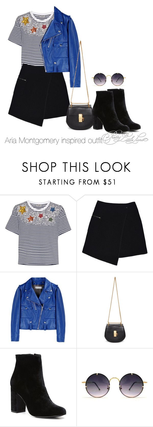 """Aria Montgomery inspired outfit"" by tvdsarahmichele ❤ liked on Polyvore featuring Miu Miu, MARC CAIN, Golden Goose, Chloé, Witchery and Spitfire"