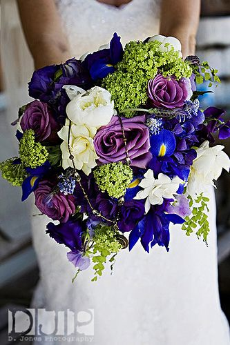 Purple Green And Blue Wedding Bouquet
