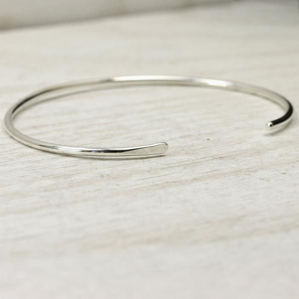 3mm Wide Solid Sterling Silver Cuff Bracelet Smooth or Hammered Open Bangle 925 Silver