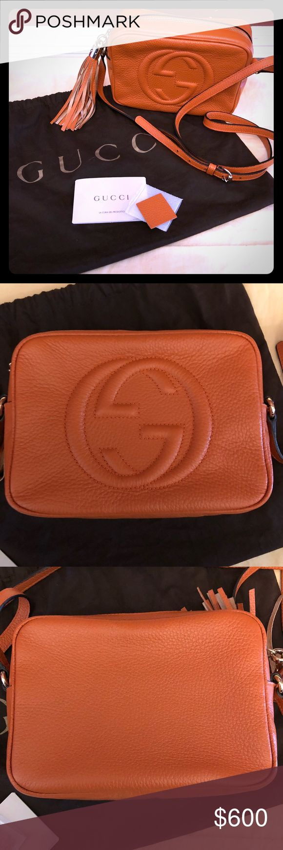 Gucci soho disco crossbody bag Handy little pouch by Gucci. It is in good preloved condition. I used it for UT football games & events🤗 But it really is a great pop of color that can be used year round!! Listing includes: bag, original dust bag, leather color swatch & its inserts (tag/booklet) ***will not discus price in comments but will accept offers!! Please use offer feature🎃 Gucci Bags Crossbody Bags