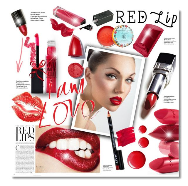 """""""Red Lips"""" by elona-makavelli ❤ liked on Polyvore featuring beauty, NYX, Rossetto, Maybelline, Bobbi Brown Cosmetics, Lime Crime and Topshop"""