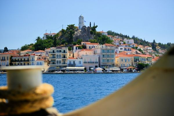 View of Poros Town from the ferry