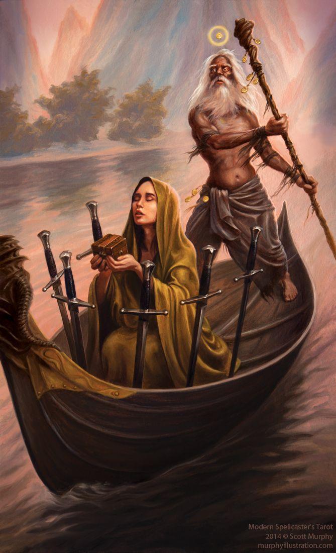 Scott Sketches: The Modern Spellcaster's Tarot: Judgement and Six of Swords
