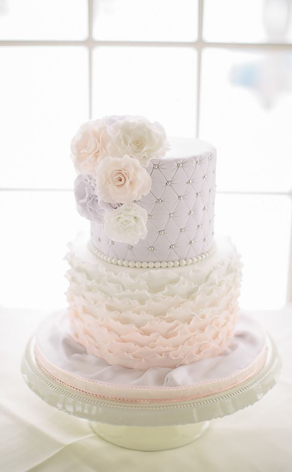 Beautiful Cake Pictures: Lilac Quilting & Pink Frills Wedding Cake : Cakes with Frills, Wedding Cakes