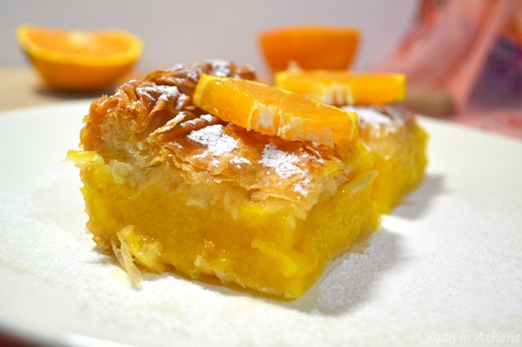 Mouthwatering oriental orange pie with phyllo pastry and orange custard – #vegan and #sugarfree
