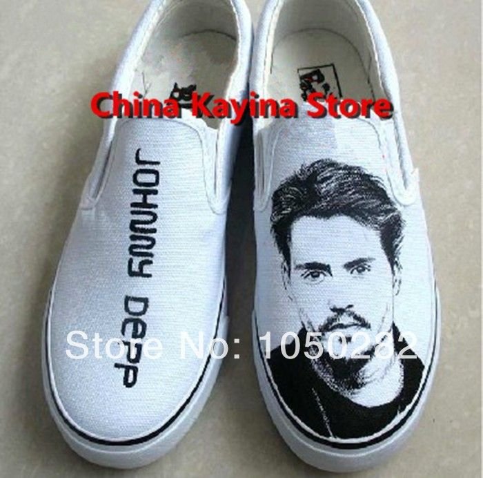 2014 Free shipping Johnny Depp hand-painted shoes casual canvas shoes for man and woman boy&girls  $1782,98