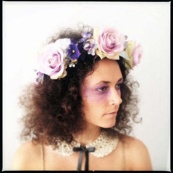 Flower Crown  Purple Rose Crown  Floral Headpiece  by katieburley, $300.00