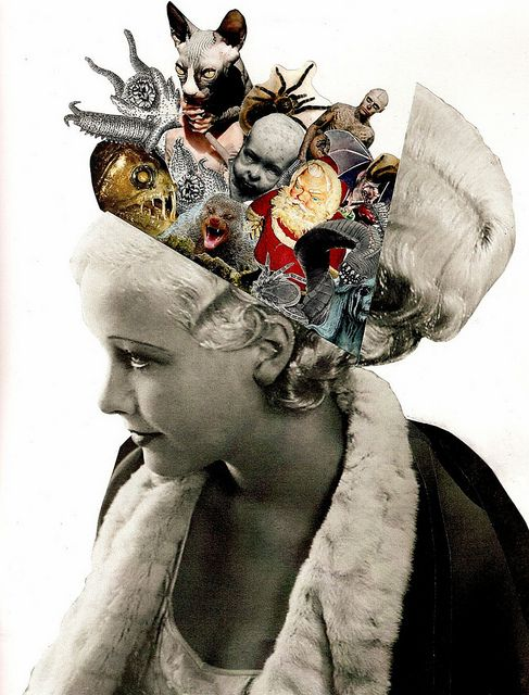 """Cut & paste collage (paper on paper). Done a couple years ago for a Scrapiteria theme on """"hidden thoughts.""""Lynn SkordalPaperworker"""