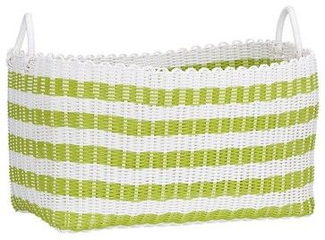 Woven Green and White Laundry Basket - contemporary - hampers - Crate