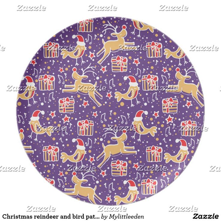 Christmas reindeer and bird patterned purple plate