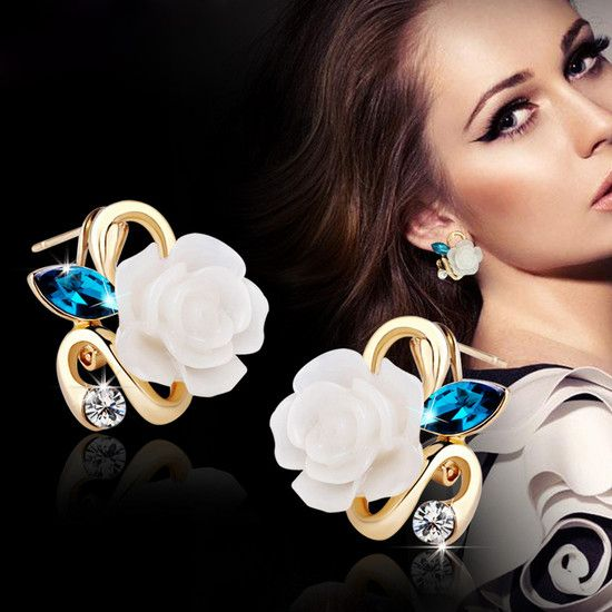 New Fashion Crystal Stud Earrings Hot Sale Classic 18K Gold Plated Rose Flower Earring For Women Girls Brincos Jewelry E25 >>> Be sure to check out this awesome product.
