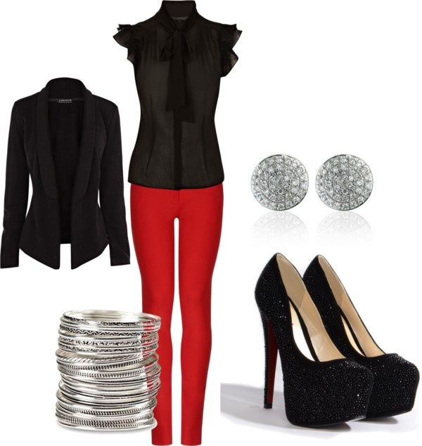 """""""chrstmas party"""" not sure i will ever own red pants, but if I do, this is what I'll wear with them."""