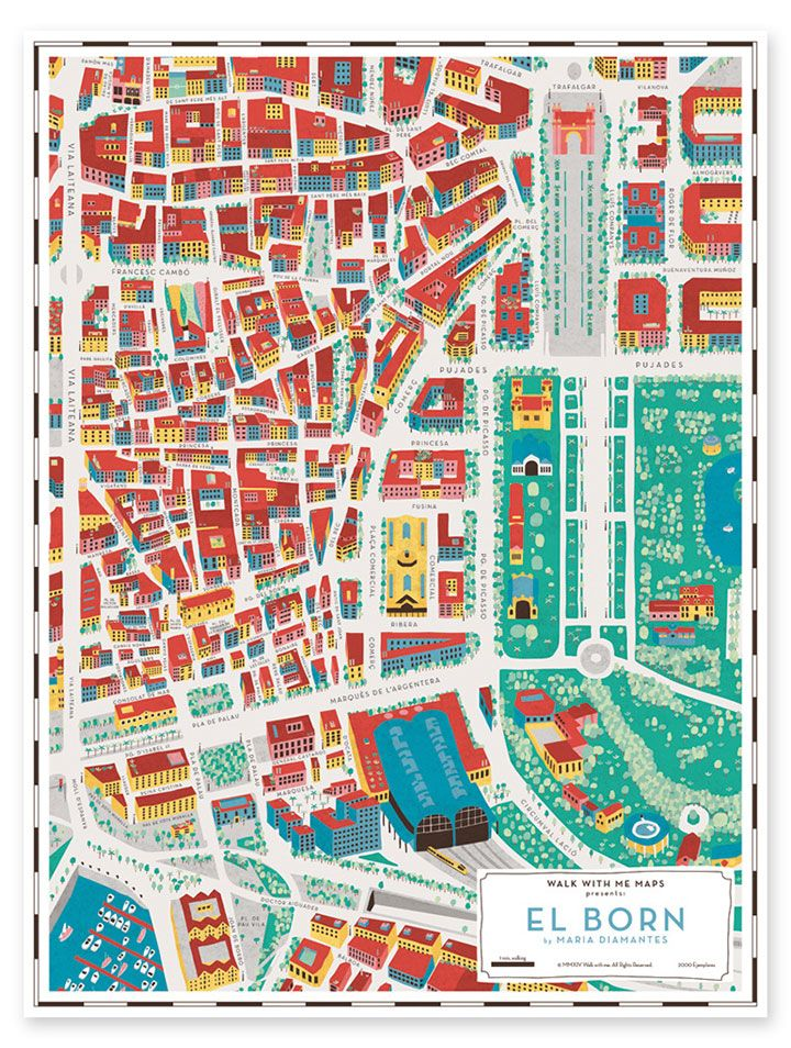 Map of Barri El Born, Barcelona by Maria Diamantes for Walk With Me #map #barcelona
