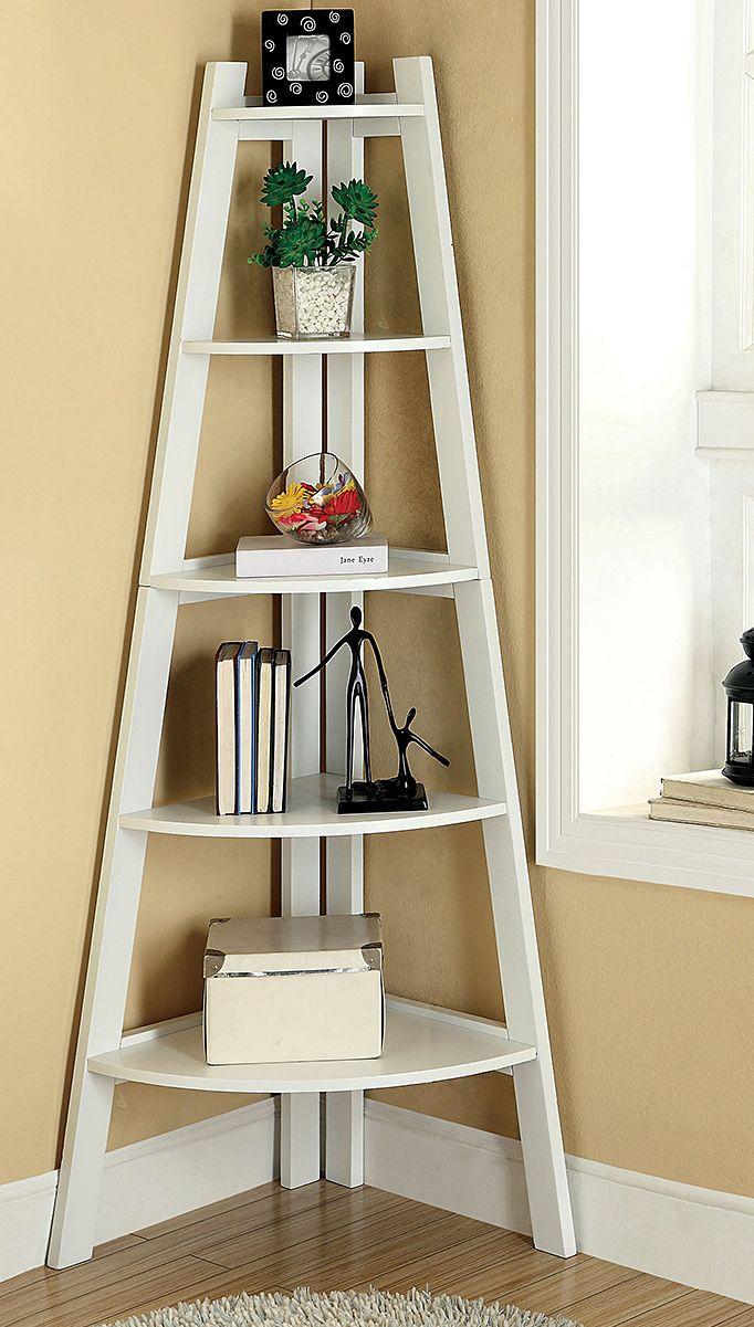 Furniture of America Kiki 5-tier Corner Ladder Display Bookcase by Furniture of…