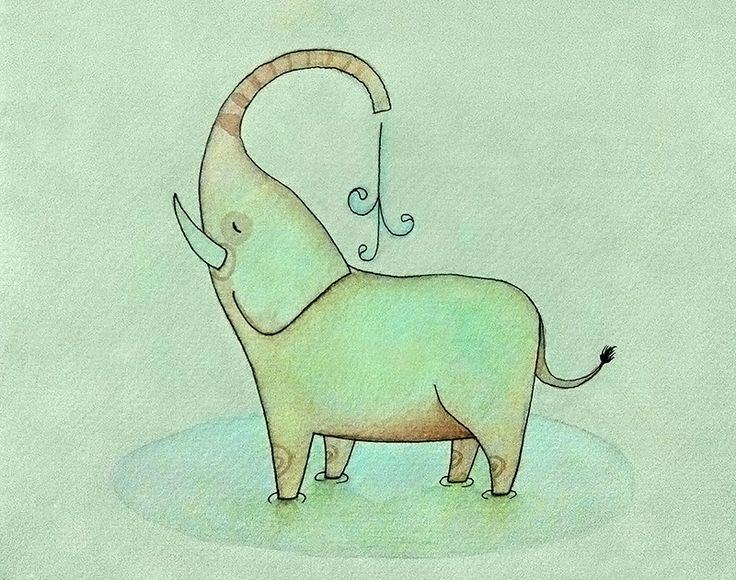 Elefante en acuarela - basado en Isabel hojas