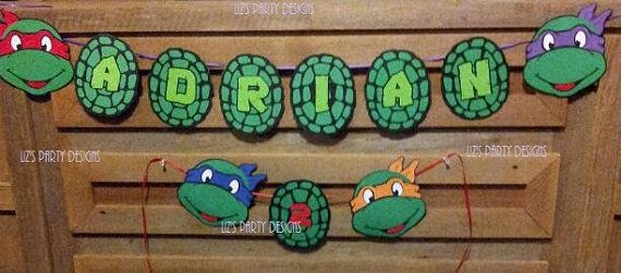 Ninja Turtle banner DIY PRINTABLE by LizsPartyDesigns on Etsy