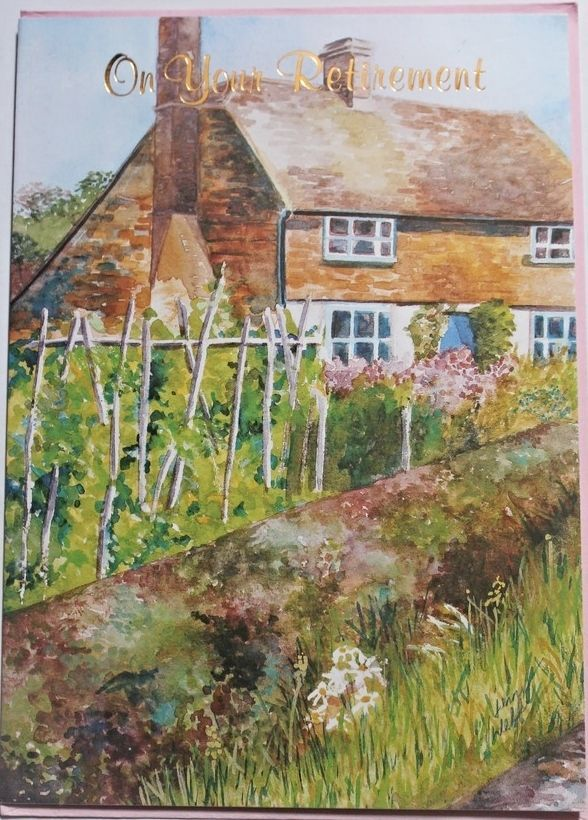 On your retirement card & envelope, house and garden, congratulaitons, brand new