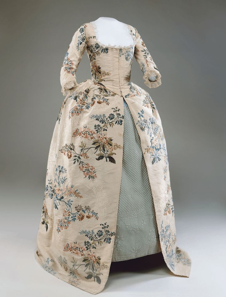 """A very special dress: the textile is from Spitalfields, while the garment was constructed near Springfield, MA., c. late 1740s. As noted by Historic Deerfield: """"Gown, fabric possibly designed by John Vansommer (1705–1774), fabric woven in Spitalfields, England, garment made in Springfield, Mass. area, late 1740s, with later alterations. Polychrome brocaded silk and plain weave linen lining. Gift of Mrs. Arthur F. Draper (F.495). Photo by Penny Leveritt. Petticoat, England, ca. 1770. Light…"""