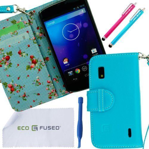 ECO-FUSED Genuine Blue REAL leather Wallet Case for LG Nexus 4 (E960) with inner